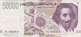 Italie - Billet De 50000 Lire - G.L. Bernini - 27 Mai 1992 - [ 2] 1946-… : Repubblica