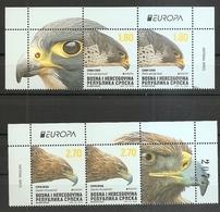 BOSNIA AND HERZEGOVINA 2019,SERBIA BOS,EUROPA CEPT,NATIONAL BIRDS,EAGLES,,AQUILA CHRYSAETOS,FALCO PEREGRINUS,VIGNETT,MNH - Sin Clasificación