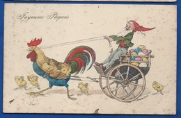 Un Nain Conduisant Une Charette Tiré Par Un Coq     Animées    écrite En 1910 - Fancy Cards