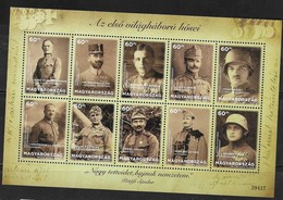 HUNGARY, 2018, MNH, WWI, HEROES OF WORLD WAR ONE, SHEETLET - Guerre Mondiale (Première)