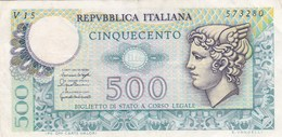 Italie - Billet De 500 Lire - 20 Décembre 1976 - [ 2] 1946-… : Républic