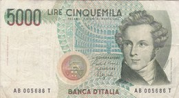 Italie - Billet De 5000 Lire - Vincenzo Bellini - 4 Juin 1985 - [ 2] 1946-… : Republiek