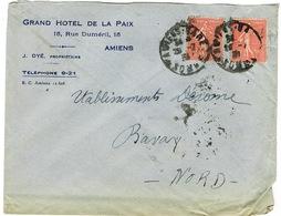 ENVELOPPE  A EN-TETE GRAND HOTEL DE LA PAIX AMIENS - Marcophilie (Lettres)