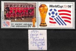 NB - [821415]TB//**/Mnh-St.Vincent & Grenadines 1994 - SPECIMEN, Mondial, Equipe Du Maroc + Vignette, Sports, Football - St.Vincent & Grenadines