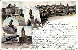 Lithographie Essen Im Ruhrgebiet Nordrhein Westfalen, Stadttheater, Kriegerdenkmal, Rathaus, Krupp Denkmal - Other