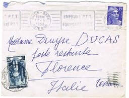 COURRIER  DIJON VERS FLORENCE TAXE DE POSTE RESTANTE EN ARRIVEE - Storia Postale