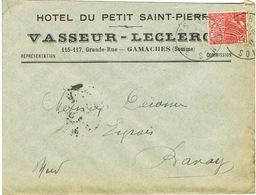ENVELOPPE  A EN-TETE HOTEL DU PETIT SAINT PIERRE VASSEUR-LECLERC GAMACHES SOMME - Marcophilie (Lettres)