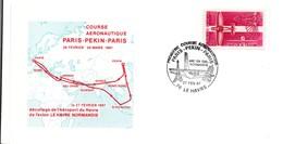 Le Havre 1987 - BT Course Avion Paris Pekin Bombay Singapore Hong-Kong Abu Dhabi Amman - Normandie Chine Eiffel - Marcophilie (Lettres)