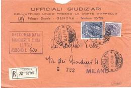 MANOSCRITTI RACCOMANDATI ASSEGNO GENOVA N°5 PIAZZA MATTEOTTI - 1946-.. République
