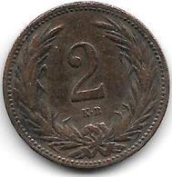 *hungary 2 Filler 1906 Km 481  Vf - Hungría