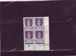 N° 1351A - 0,01F Blason De NIORT - A De A+B - 4° Tirage Du 20.10.64 Au 27.10.64 - 20.10.64 - - Coins Datés