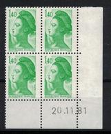 FRANCE         N° YVERT  :  N° 2186 ( 1 )  COIN DATE      (  20/11/81 )          NEUF SANS  CHARNIERES - Esquina Con Fecha
