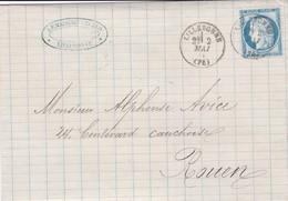 N° 60  S / L Avec Texte T.P. Ob T 16 Lillebonne 2 Mai 76 - Poststempel (Briefe)