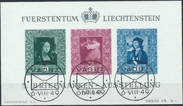 Liechtenstein 1949: Gemälde-Block Zu W23 Mi Block 5 Yv BF 8 Mit ET-o VADUZ 6.VIII.49 (Zumstein CHF 180.00) - Blocs & Feuillets