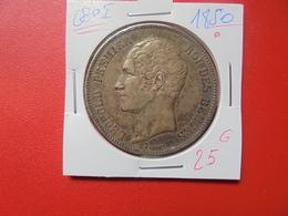 Léopold 1er. 5 FRANCS 1850 AVEC POINT ARGENT (A.7) - 1831-1865: Leopold I