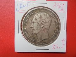 Léopold 1er. 5 FRANCS 1865 ARGENT (A.7) - 11. 5 Francs
