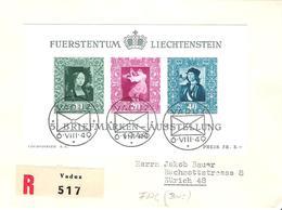Liechtenstein 1949: Gemälde-Block Zu W23 Mi Block 5 Yv BF 8 Auf R-FDC Mit O VADUZ 6.VIII.49 (Zumstein CHF 300.00) - FDC