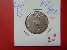 """LOUIS XV 1:6e D'ECU 1721 """"W"""" ARGENT (A.7) - 987-1789 Royal"""