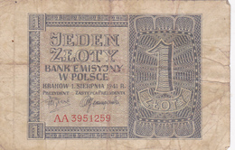 Billet 1 Sloty Pologne. - Pologne
