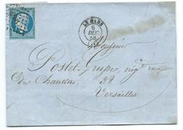 N° 14 BLEU NAPOLEON SUR LETTRE / LE MANS POUR VERSAILLES / 6 DEC 1858 - 1849-1876: Klassieke Periode