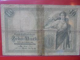 Reichskassenschein 10 MARK 1906 CIRCULER - [ 2] 1871-1918 : Duitse Rijk