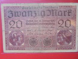 Darlehnskassenschein :20 MARK 1918 CIRCULER - [ 2] 1871-1918 : Empire Allemand