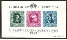 Liechtenstein 1949: Gemälde-Block Zur 5.BM-Ausstellung Zu W23 Mi Block 5 Yv BF 8 ** MNH & * MLH (Zumstein CHF 130.00) - Liechtenstein