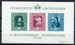 Liechtenstein 1949: Gemälde-Block Zur 5.BM-Ausstellung Zu W23 Mi Block 5 Yv BF 8 ** MNH & * MLH (Zumstein CHF 120.00) - Arts