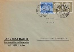 Env Affr Michel 411 X 2 + 446 Obl WITTERSHEIM / über / ST INGBERT Du 20.6.59 Adressée à Strasbourg - 1957-59 Fédération