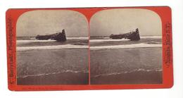 "SAN FRANCISCO  Wreck On Beach  "" De Bois US Horse Liniment "" Phot.  Bierstadt - Stereoscoop"