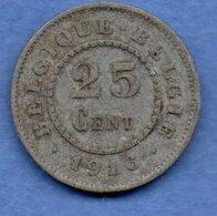 Belgique -  25 Centimes 1916 -  Km # 82 --  état  TB+ - 05. 25 Centimes
