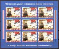 Nord Macedonia 2019 Versai Peace Conference Mini Sheet MNH - Macedonia
