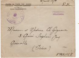LETTRE CANNONIÈRE FRANCIS GARNIER - FRANCHISE MILITAIRE SERVICE A LA MER 5 JANVIER 1933 - Militaria