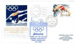 """Flight Of The Maltese Olympic Team"" Alitalia Malta-Rom-Barcelona - Spiele Barcelona 1992 - Summer 1992: Barcelona"