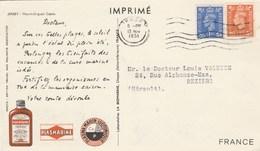 PUB PLASMARINE 1951 - IONYL - JERSEY / SUR CARTE POSTALE / MOUNT ORGUEIL POUR MULHOUSE - Jersey