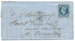 N° 14 BLEU NAPOLEON SUR LETTRE / CAEN POUR VERSAILLES / 21 FEV 1861 - Storia Postale
