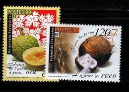Polynésie Française  1999 Fruits Cat Yt N° 588, 589 N** MNH - Unused Stamps