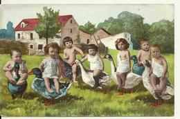 CARTE FANTAISIE / LES BEBES MULTIPLES - A DOS D' OIE ET DE CANARD - Babies