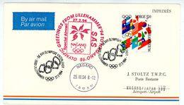 """Greetings From Lillehammer To Nagano"" Luftpostbrief Nach Nagano - Winter 1994: Lillehammer"
