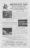 Dépliant EXPOSITION UNIVERSELLE DE BRUXELLE 1958 - Exhibitions