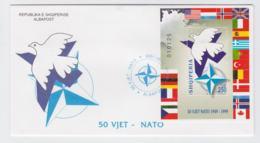 Albania Souvenir Sheet  1999 FDC NATO 50 Years (T12-19) - Militaria