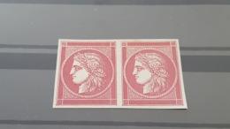 LOT 455609 TIMBRE DE FRANCE NEUF ESSAI RARE EN PAIRE - 1849-1850 Cérès