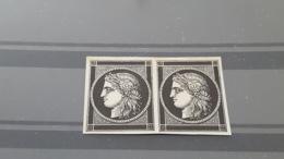 LOT 455612 TIMBRE DE FRANCE NEUF ESSAI RARE EN PAIRE - 1849-1850 Ceres