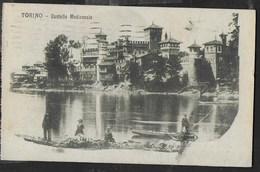 TORINO - CASTELLO MEDIOEVALE - ANIMATA - FORMATO PICCOLO - EDIZ. RATTI TORINO - VIAGGIATA DA TORINO 1921 - Castelli