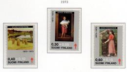 PIA - FIN - 1973 : A Favore Della Lotta Contro La Tubercolosi - Quadri Di Artisti Nel 100° Della Nascita -  (Yv 694-96) - Malattie