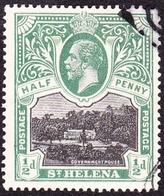 ST HELENA 1912KGV 1/2d Black & Green SG72FU - Saint Helena Island