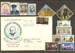 Winston Churchill - Petit Lot De 12° + 1 FDC - Stamps