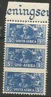 South Africa - 1942 Women's Services 3d Margin Strip MNH **   SG 101  Sc 94 - South Africa (...-1961)