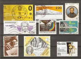 Handicapés - Aveugles -  Petit Lot De 9 Timbres° - Louis Braille - Chiens Guides - Stamps