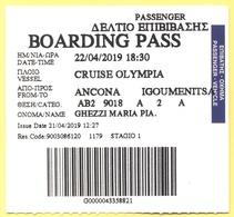 Cruise Olympia - Ancona-Igoumenitsa - Biglietto Di Imbarco - Boarding Pass - Carte D'imbarco Di Navi